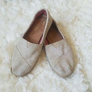 TOMS Tan Canvas Espadrilla Shoes W 7.5